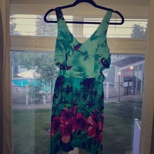 Tropical dress with side cutout detail
